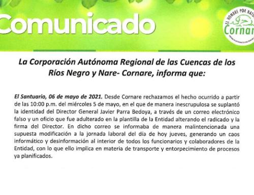Comunicado Director General - Corporación Autónoma de las Cuencas de los Rios Negro y Nare