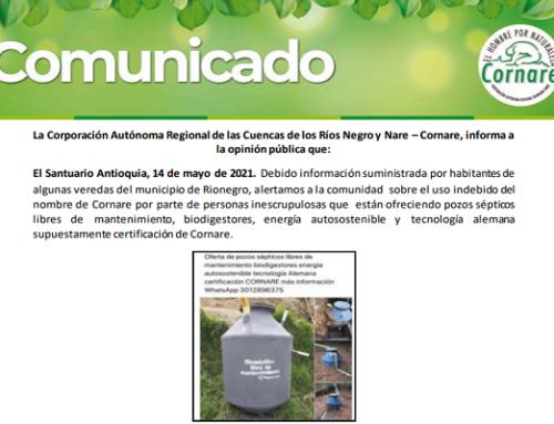Comunicado Pozos Sépticos - Corporación Autónoma Regional de las Cuencas de los Rios Negro y Nare